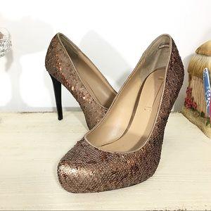 "BCBGMaxAzria Rose Gold Sequin Pumps 4.5"" Heels"